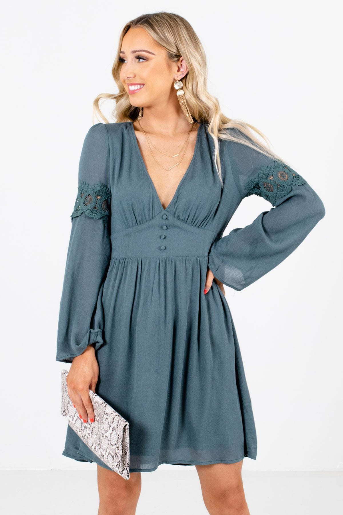 Blue Deep V-Neckline Boutique Mini Dresses for Women