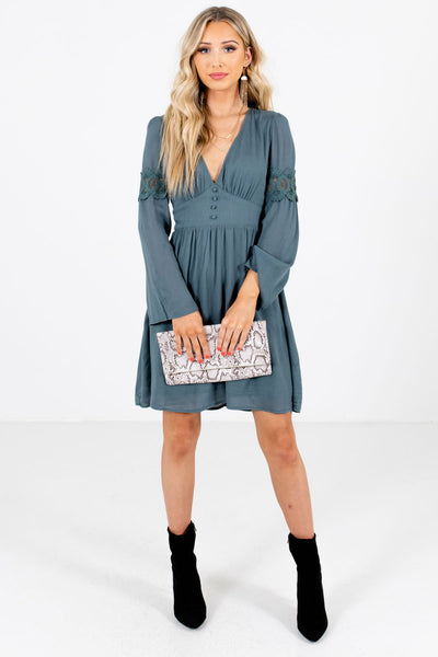 Women's Blue Partially Lined Boutique Mini Dress