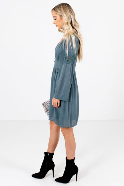 Blue Decorative Button Boutique Mini Dresses for Women