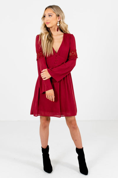 Women's Rust Red Partially Lined Boutique Mini Dress