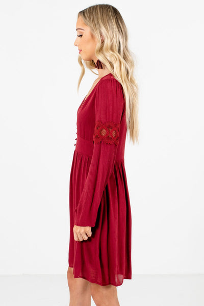 Rust Red Decorative Button Boutique Mini Dresses for Women