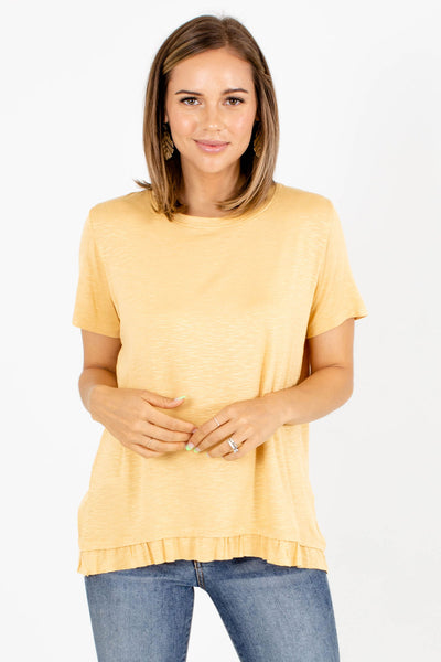 Yellow Ruffled Hem Boutique Tops for Women