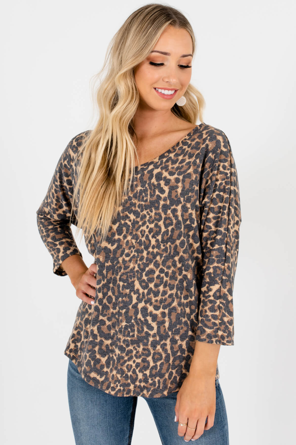 Beige Brown Black Faded Leopard Print Affordable Online Boutique Tops