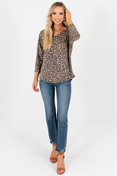 Faded Leopard Print Cute Boutique T-Shirt Tees and Tops for Women