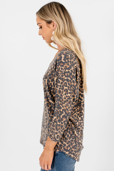 Faded Leopard Print Dolman Sleeve Tops Affordable Online Boutique