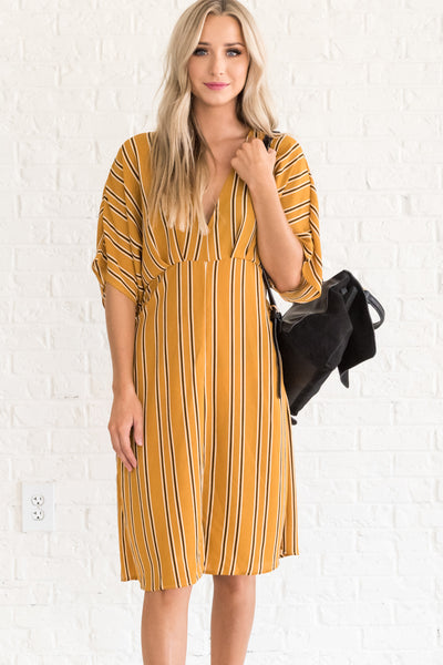 Mustard Yellow Striped Dress