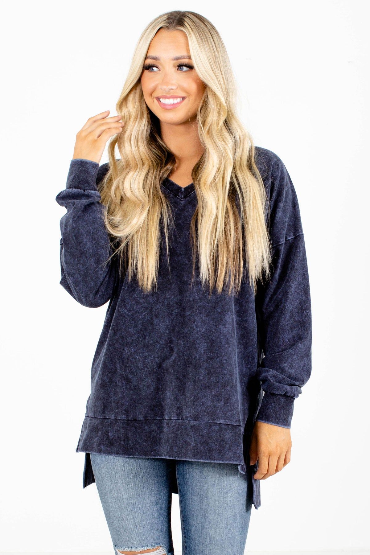 Navy Acid Wash Boutique Pullovers for Women