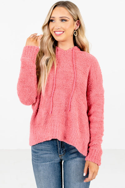 Women's Coral Pink High-Low Hem Boutique Hoodies