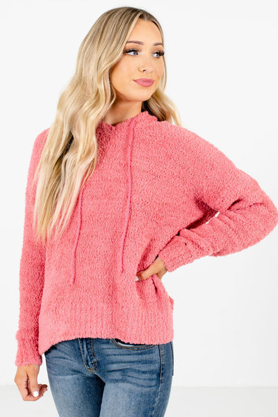 Coral Pink Fuzzy Chenille Material Boutique Hoodies for Women