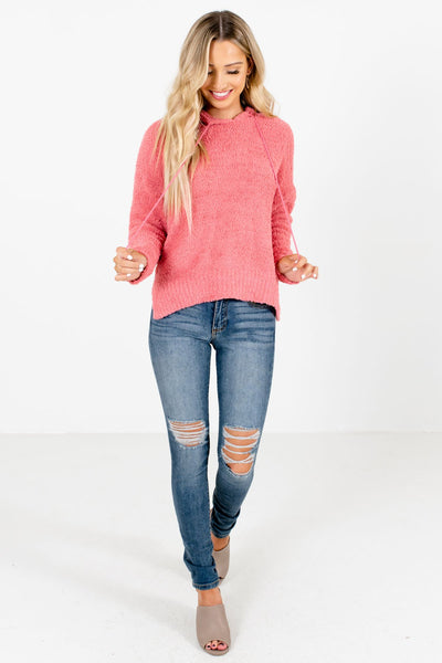 Coral Pink Cute and Comfortable Boutique Hoodies for Women