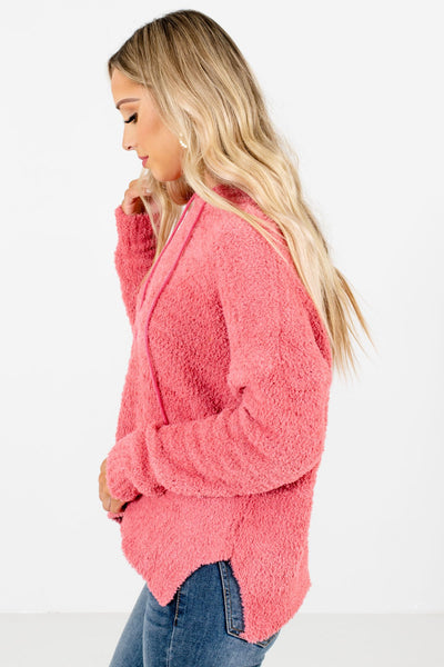 Coral Pink Split Hem Boutique Hoodies for Women