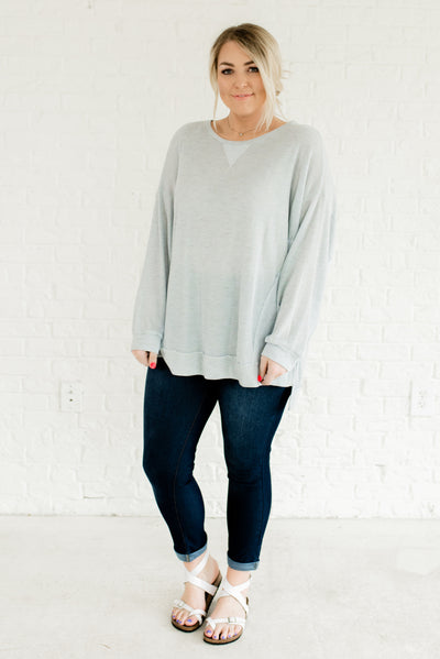 Light Blue Warm and Cozy Boutique Tops for Women