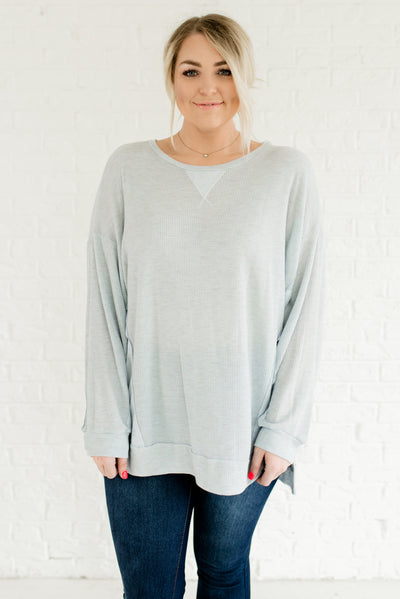 Light Blue Waffle Knit Plus Size Boutique Tops for Women