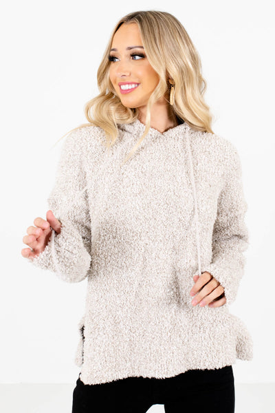 Beige Fuzzy Chenille Material Boutique Hoodies for Women