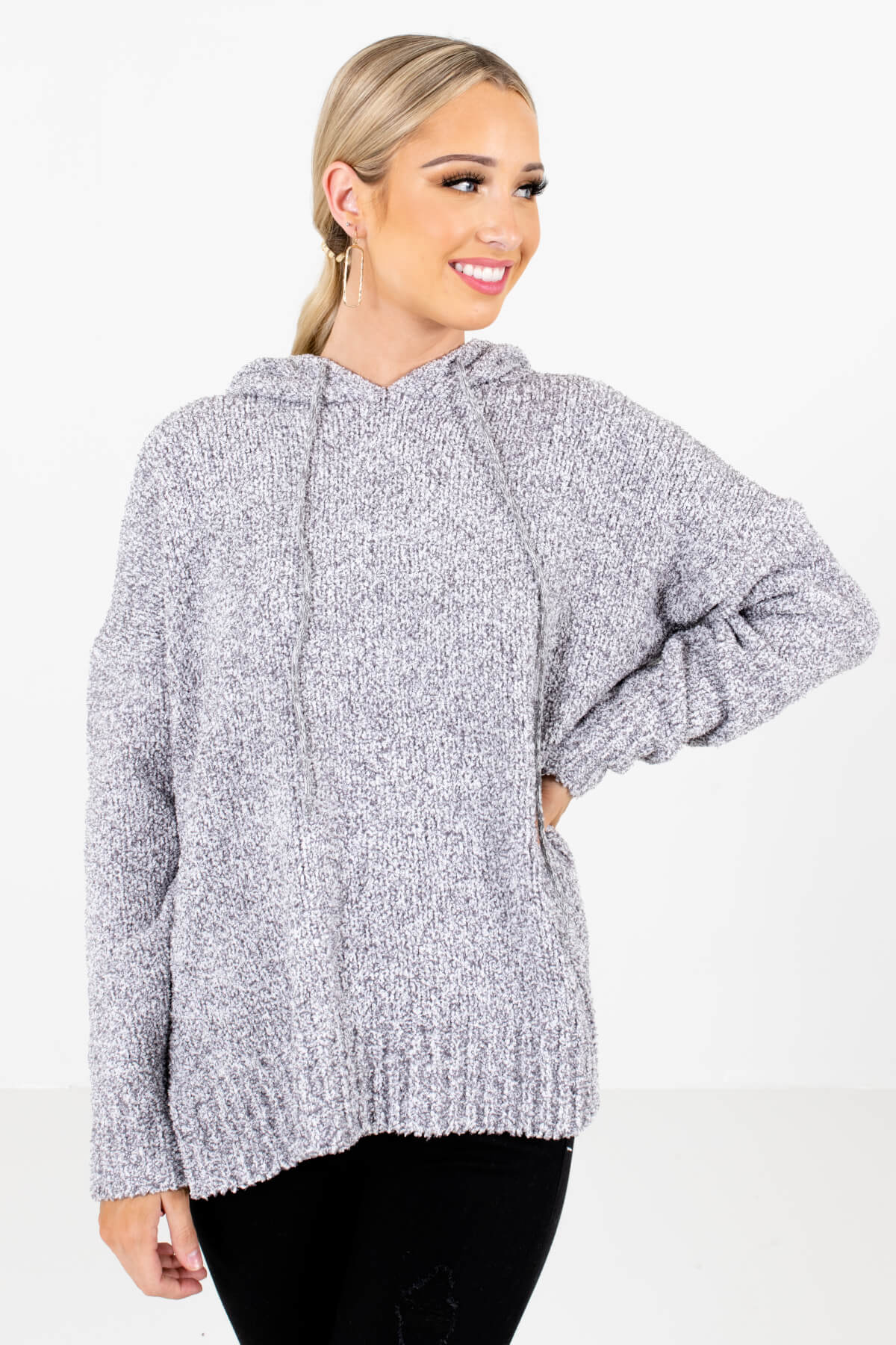 Gray Fuzzy Chenille Material Boutique Hoodies for Women