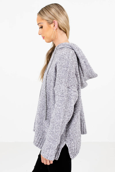 Gray Split Hem Boutique Hoodies for Women
