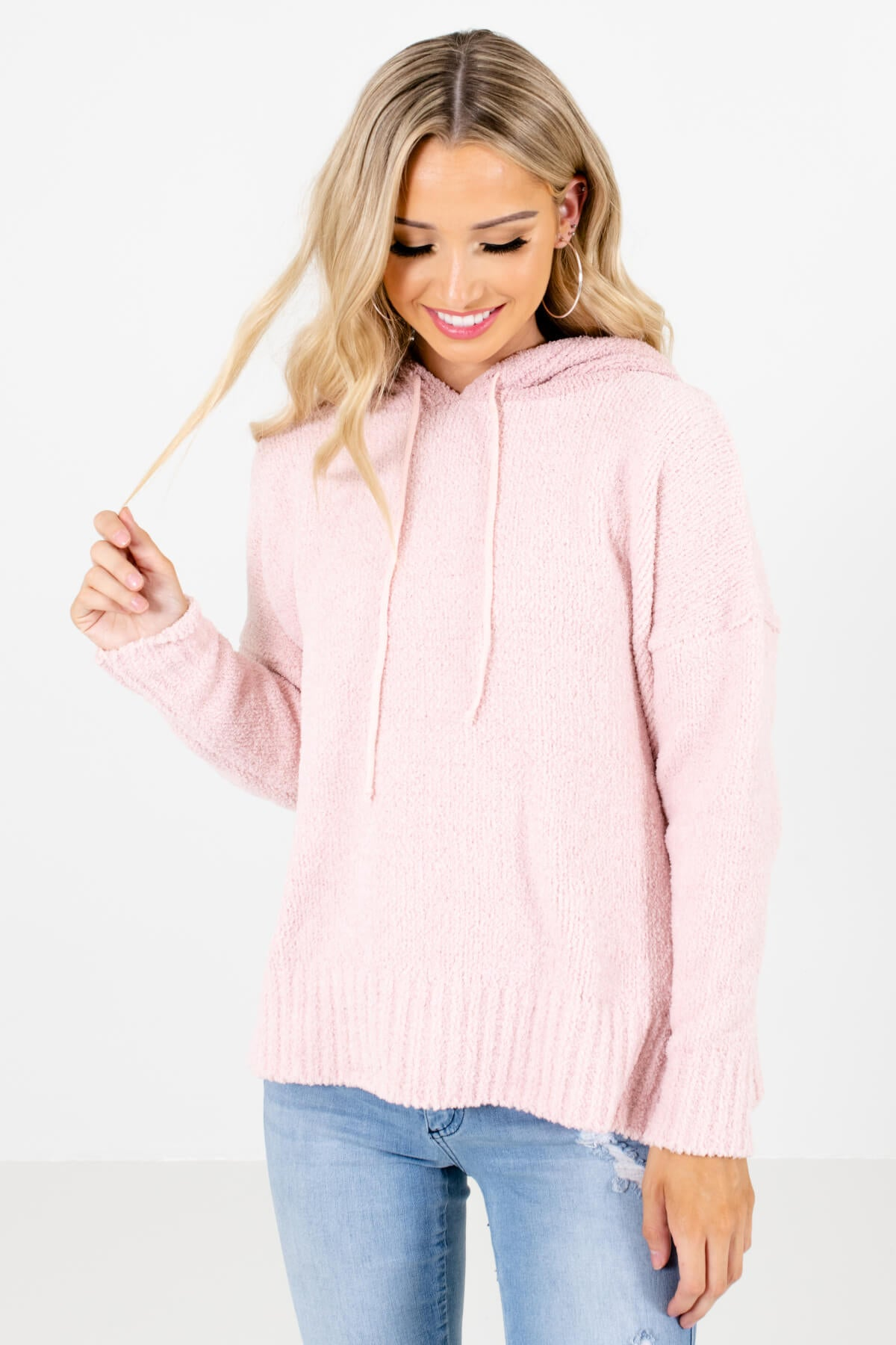 Pink Fuzzy Chenille Material Boutique Hoodies for Women