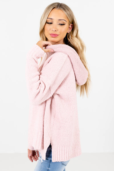 Pink Split Hem Boutique Hoodies for Women