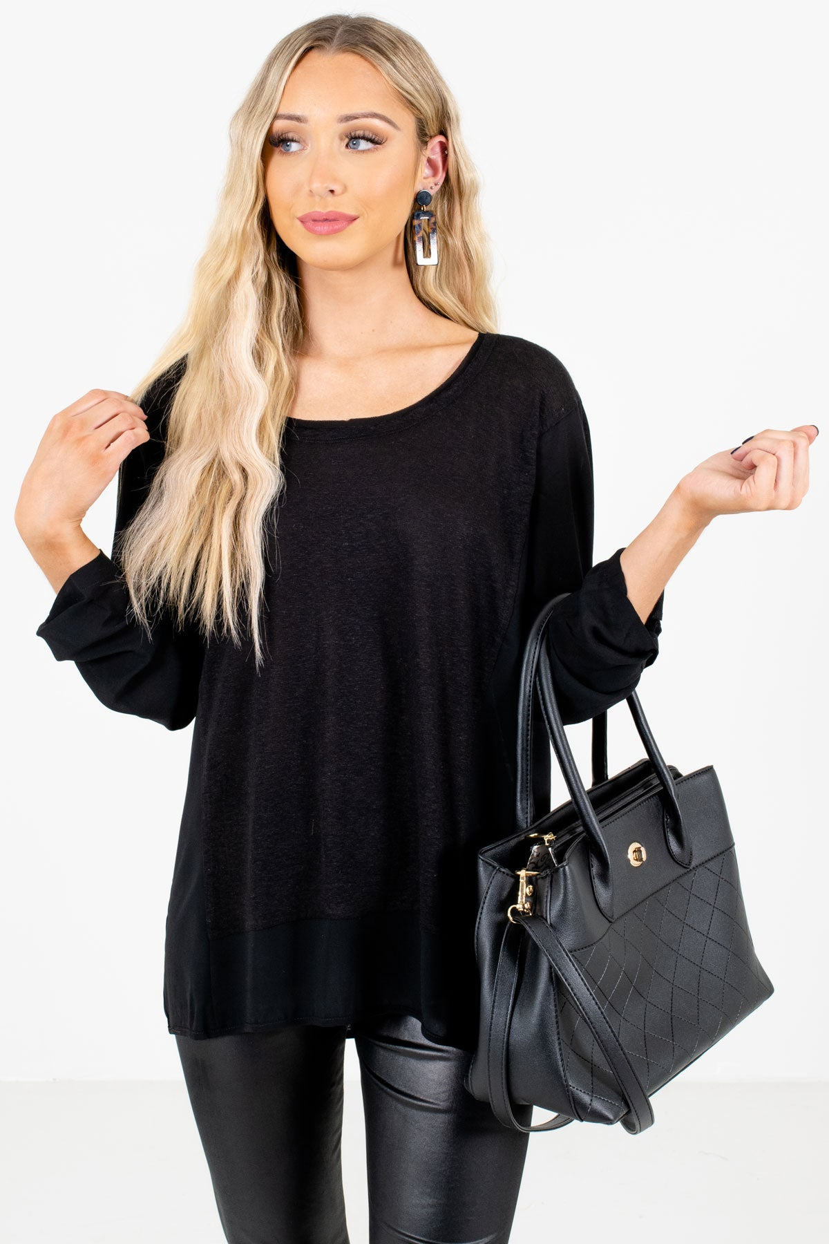 Black High-Quality Lightweight Material Boutique Tops for Women