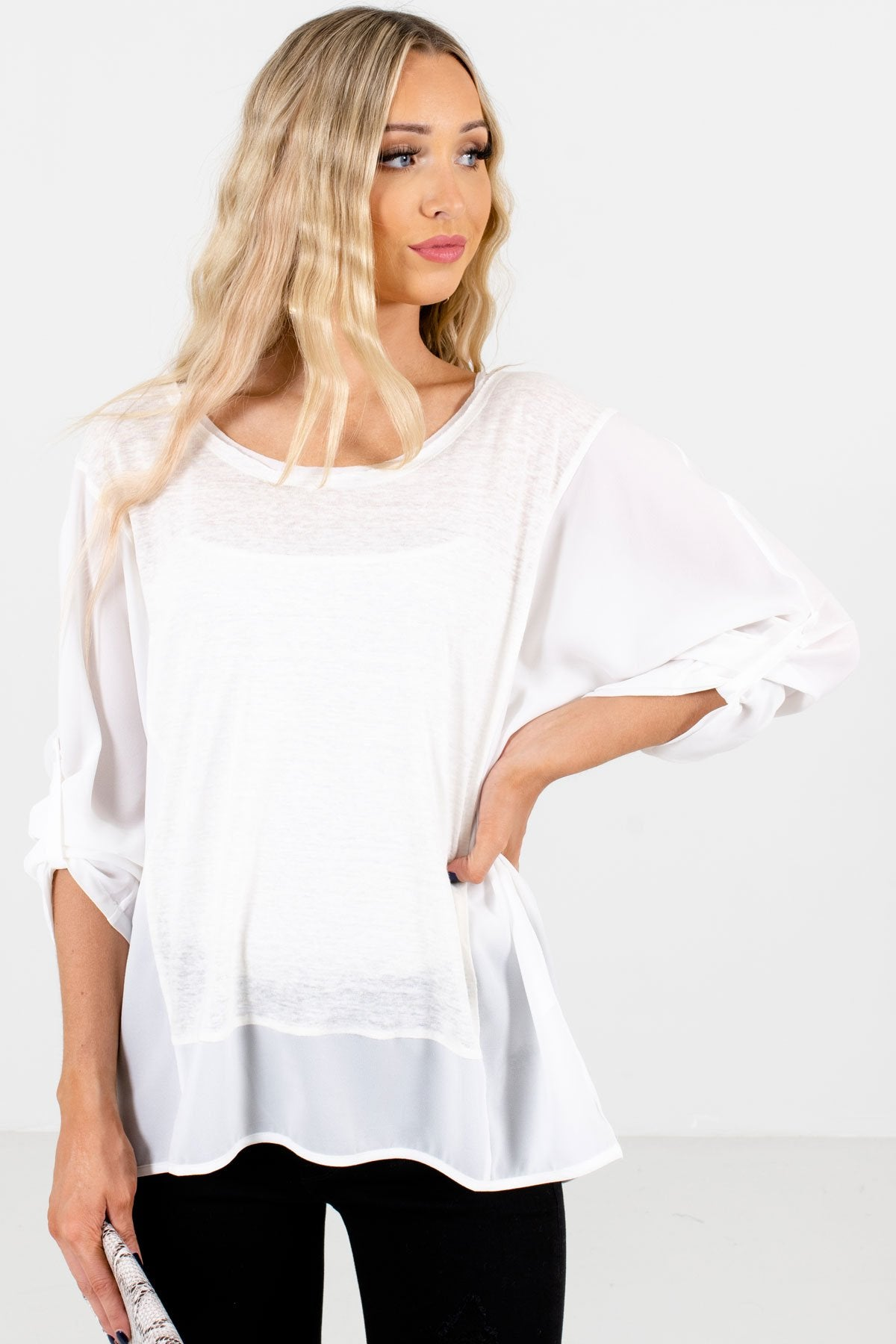 White High-Quality Lightweight Material Boutique Tops for Women