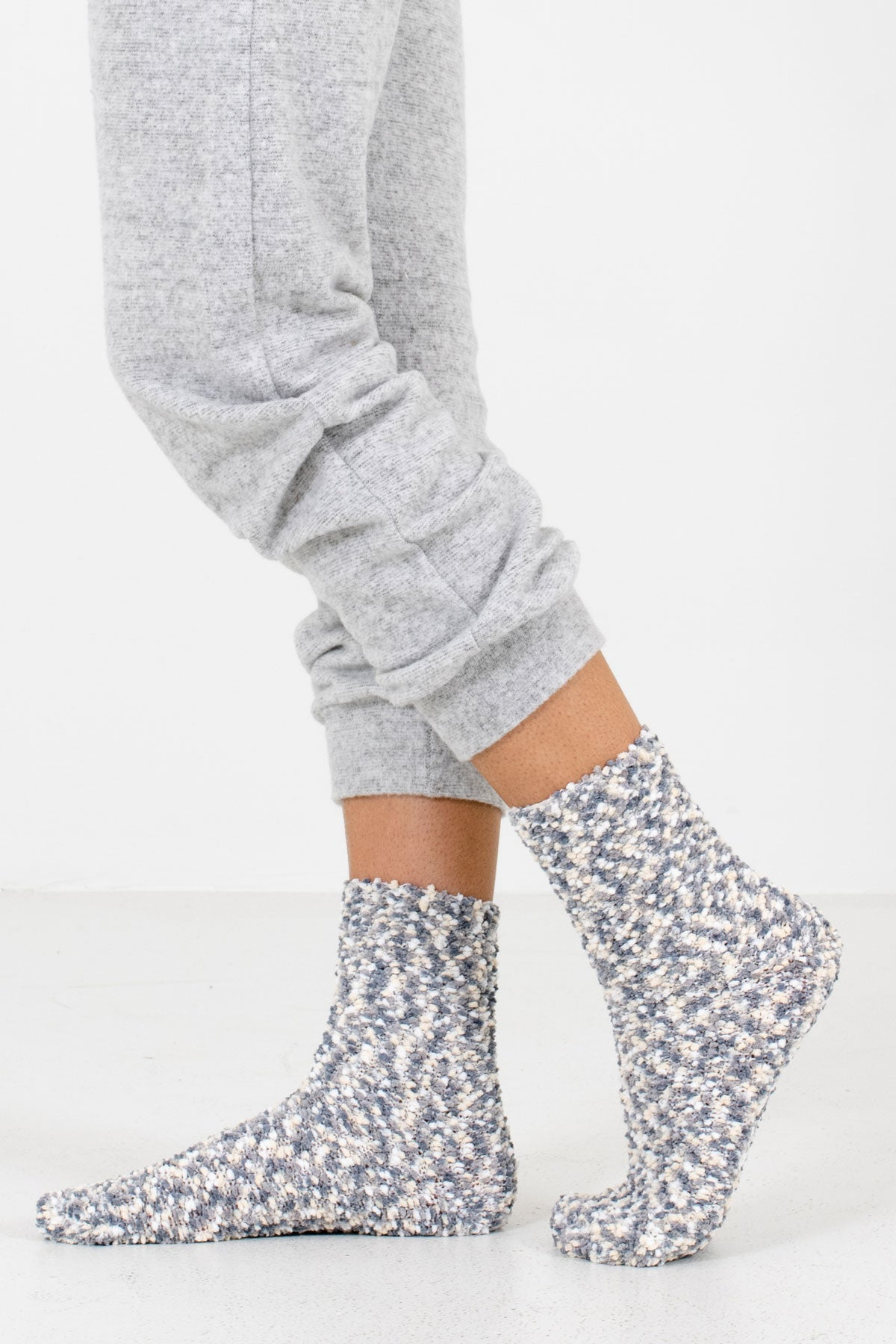Gray Multicolored Boutique Socks for Women