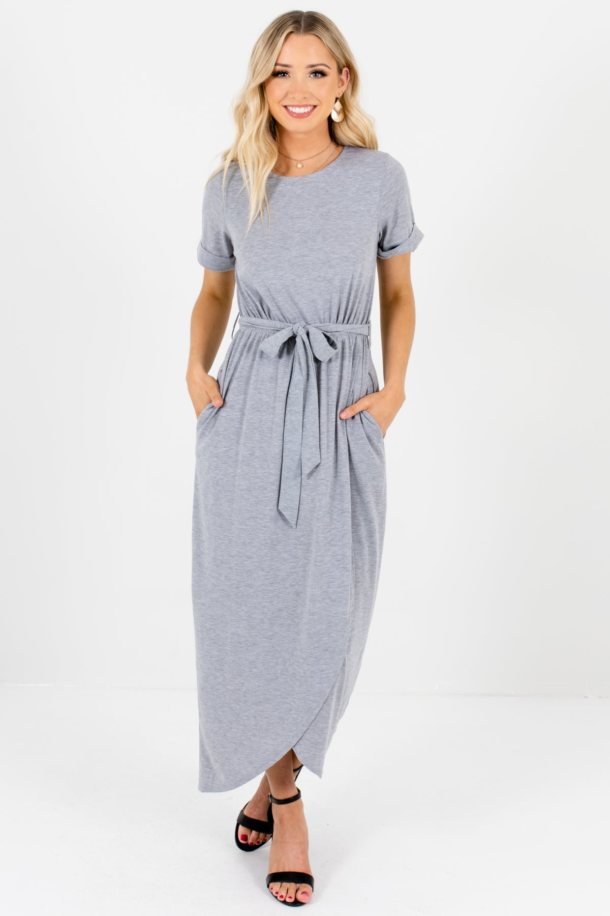 Heather Gray Comfy Elastic Waistband Tie Front Faux Wrap Overlay Dress