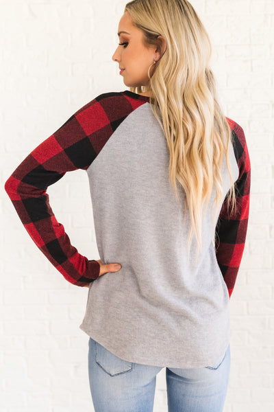 Red, Black, and Gray Long Sleeve Tops for Women