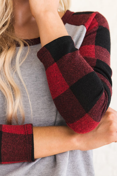 Red, Black, and Gray Soft and Comfortable Tops for Women