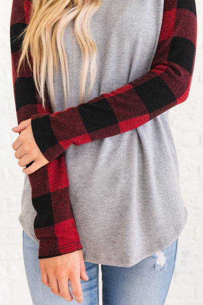 Red, Black, and Gray Warm Winter Clothing for Women