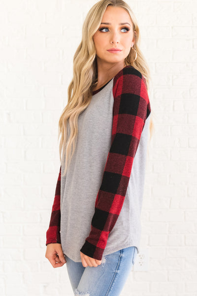 Red, Black, and Gray Cute Long Sleeve Plaid Tops for Women