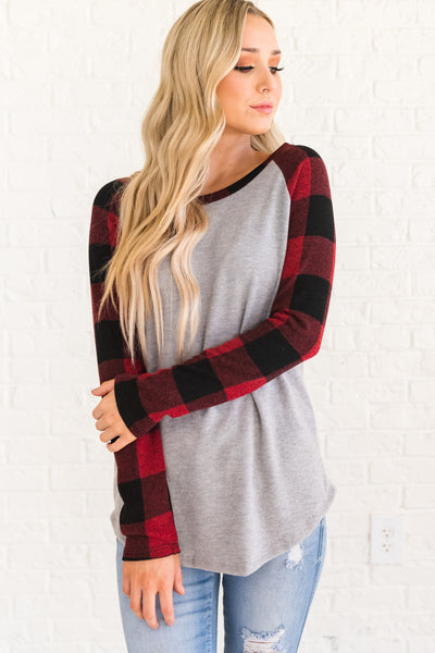 Red, Black, and Gray Plaid Tops for Women