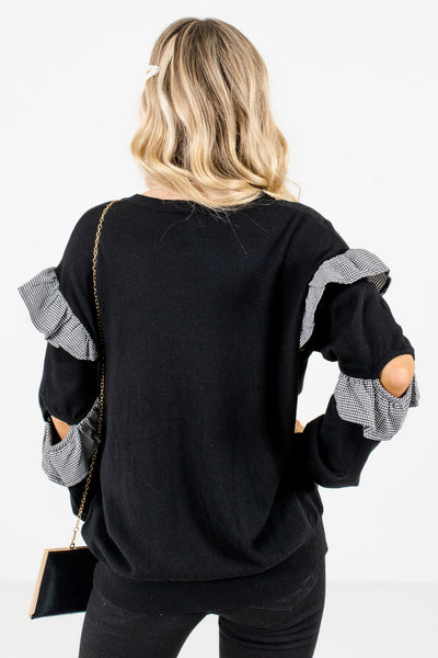Women's Black Ruffle Sleeve Boutique Tops