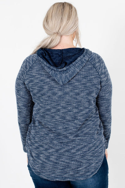 Women's Navy Blue Lace-Up Neckline Boutique Hoodie