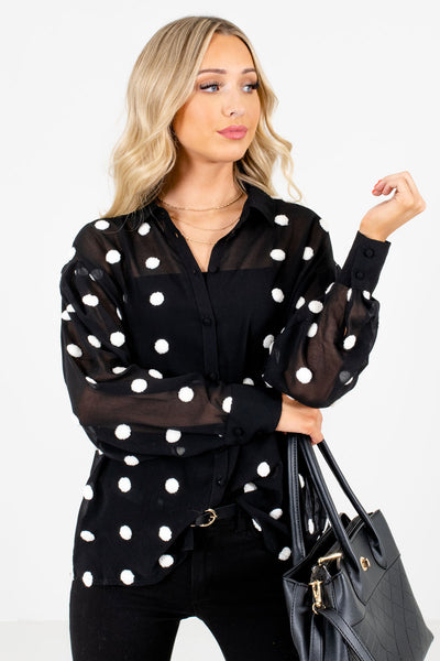 Women's Black High-Low Hem Boutique Blouse