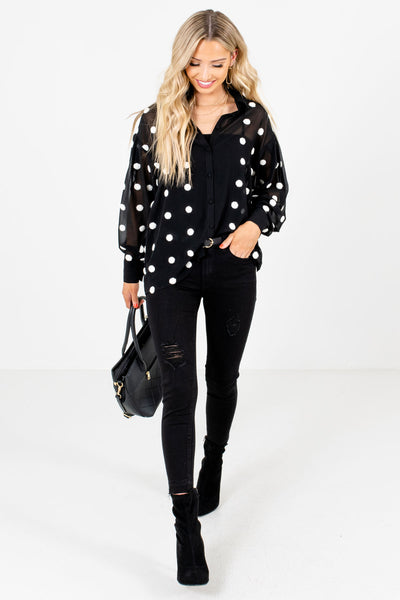 Black Cute and Comfortable Boutique Blouses for Women