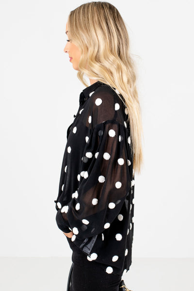 Black Button-Up Front Boutique Blouses for Women
