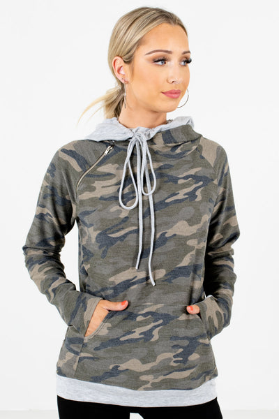 Multicolored Green Camo Print Boutique Hoodies for Women