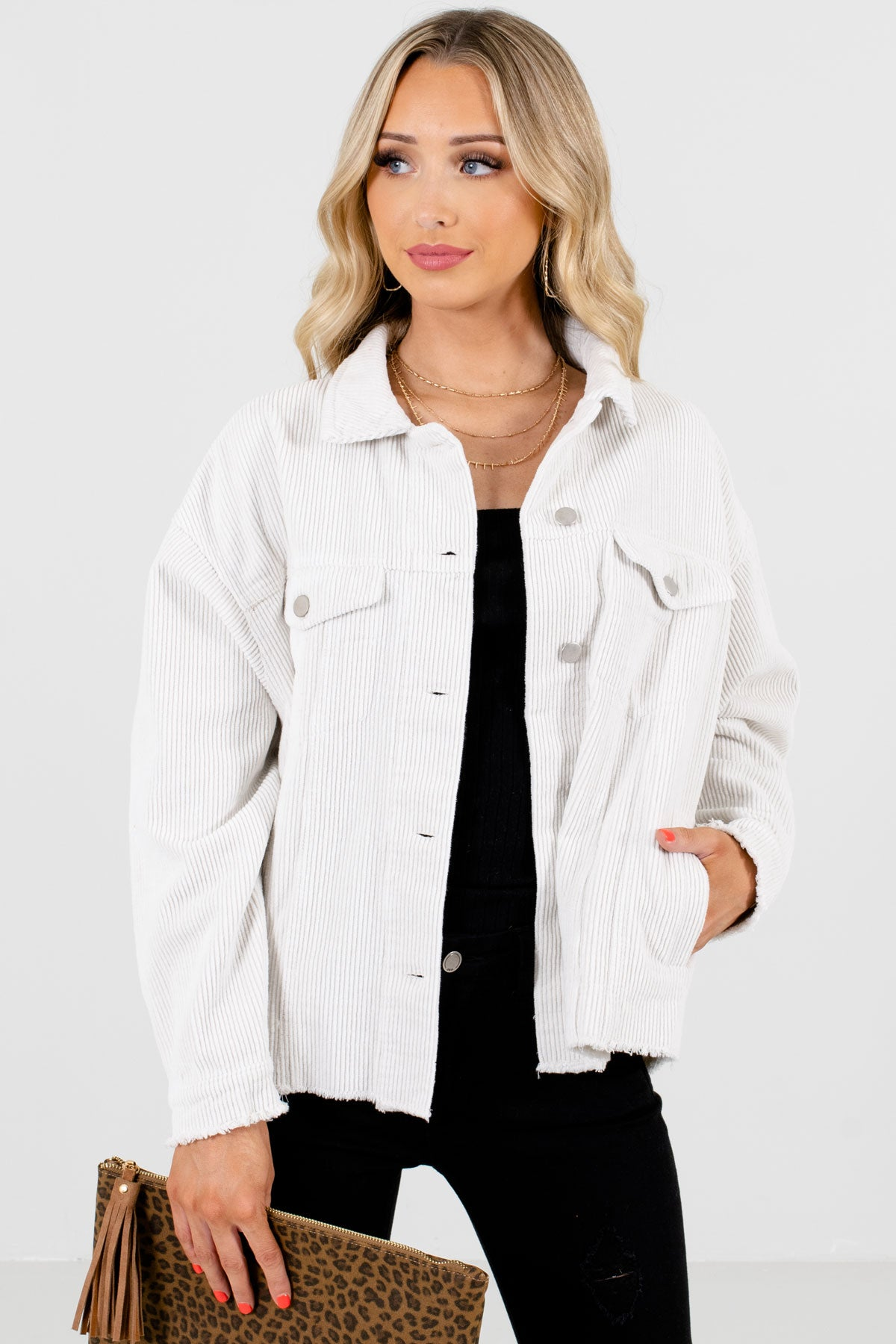 White High-Quality Corduroy Material Boutique Jackets for Women