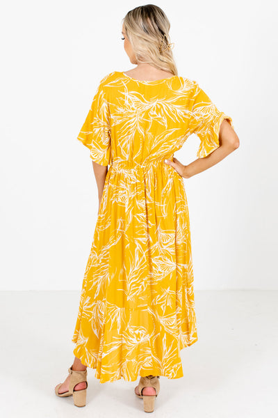 Women's Yellow Elastic Waistband Boutique Maxi Dress