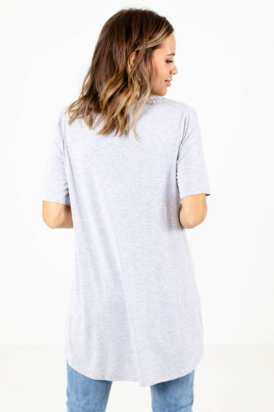 Women's Gray Short Sleeve Boutique Tops