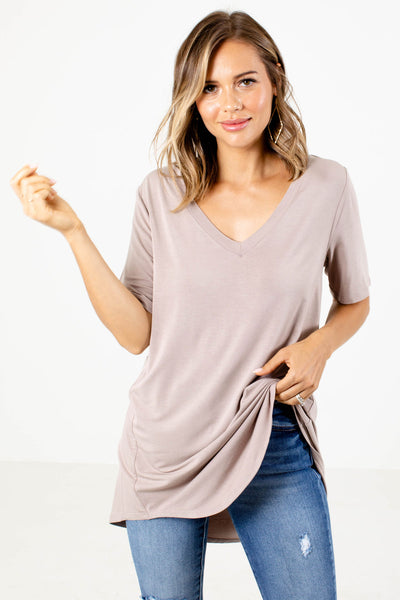 Taupe Rounded Hem Boutique Tops for Women