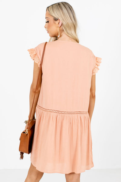 Women's Peach Eyelet Detailed Boutique Mini Dress