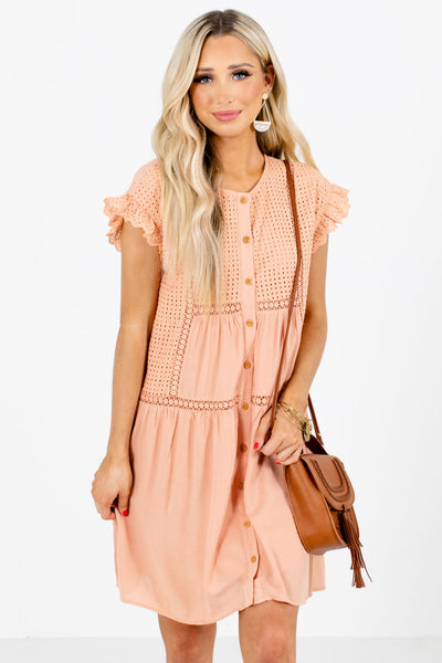 Women's Peach Pink Fully Lined Boutique Mini Dress