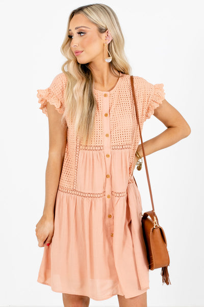 Peach Pink Button-Up Front Boutique Mini Dresses for Women