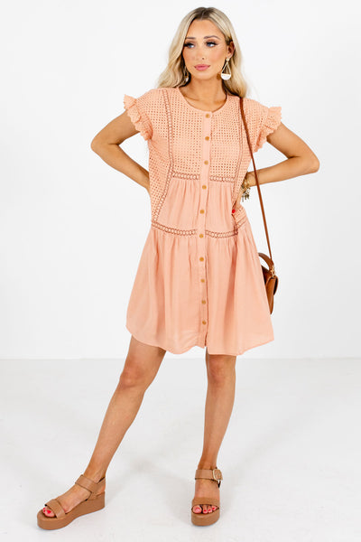Peach Pink Round Neckline Boutique Mini Dresses for Women
