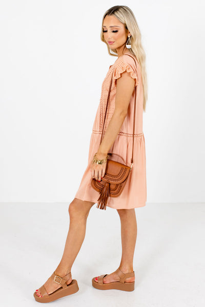 Peach Pink Cute and Comfortable Boutique Mini Dresses for Women