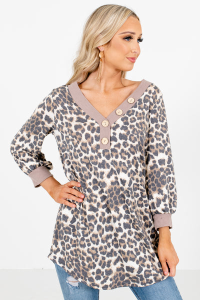 Cream and Brown Leopard Print Patterned Boutique Tops for Women