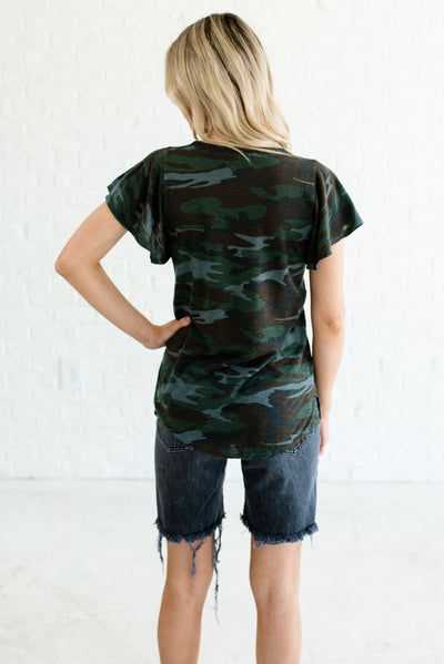 Green Camo Print Women's Flutter Sleeve Boutique Top