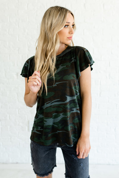 Green Camo Flutter Sleeve High-Low Hem Cute Boutique Tops for Women