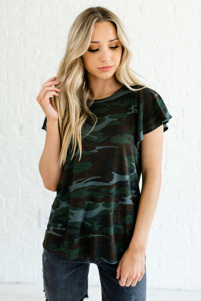 Green Camo Cute and Stylish Online Boutique Women's Clothing
